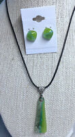 "Fused Glass Pendant 16"" length extendable to 18"" with matching stud earrings"