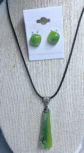 """Fused Glass Pendant 16"""" length extendable to 18"""" with matching stud earrings"""
