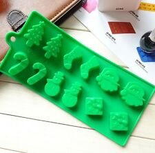 Christmas Santa Chocolate Silicone Mould Cake Tree Snowman Stocking Baking Icing