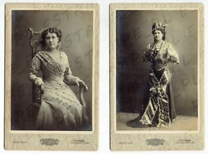cdv CABINET Photo Russian Woman Dancer Ballet or Theater MOSCOW Lot of 2 (7134)