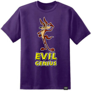 Mens Wylie Coyote Evil Genius T Shirt Looney Tunes Roadrunner Retro Cartoon 80s