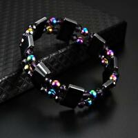 Black Hematite Magnetic Healing Therapy Bead Bracelet Bangle Pain Relief LI
