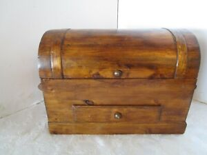 """Collectible Wood Trunk Chest Done velveteen Lined drawer double handles 15 ¾""""W"""