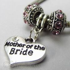 Mother Of The Bride European Heart Charm And Birthstones For Charm Bracelets