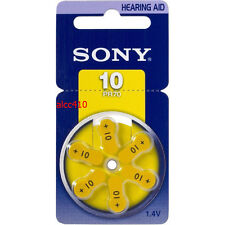 Sony Size 10 A10 10A Hearing Aid Batteries PR70 Zinc Air 1.4V 6pcs/pack PR10-D6A