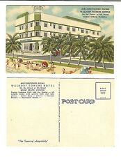 Waldorf Towers Hotel South Beach Florida Unused 1930s or 40s Postcard Vintage
