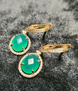 Solid Gold 14k Natural Green Onyx Lab-created Diamonds Dangling Earrings