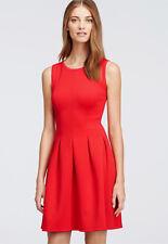 Ann Taylor - Petite 12P (PL) Bright Cherry Pleated Flare Dress $149.00 (H)