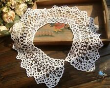 Vintage Handmade Tatting Lace Dress Top Collar/Applique~White~Fantastic~Bridal~
