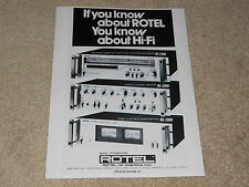 Rotel 1978 Ad, 1 page, RB-2000, RC-2000, RT-2100 Amp, Tuner, Preamp, 1 page