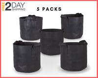 5 Pack 7 Gallon Grow Bag, Aeration Fabric Pots w, Handles, Black