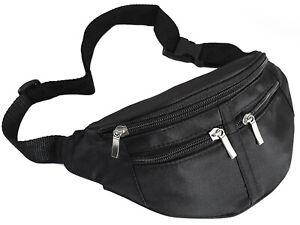 Black Bum Bag Fanny Pack Travel Festival Quality Four Zips Mens Ladies Unisex
