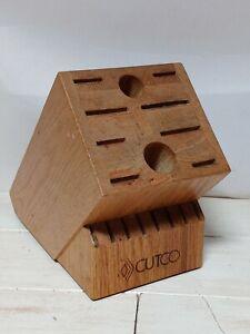 CUTCO Homemaker 18 Slot Oak Wood Block Kitchen Knife & Utensil Storage Holder