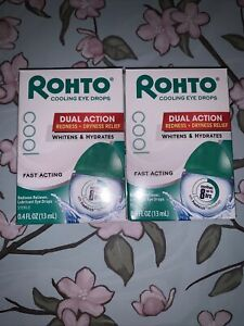 (2) Packs Rohto Cool Eye Drops, Dual Action Redness + Dryness Relief, 0.4 Oz
