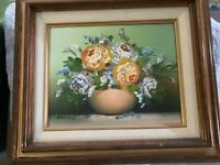 """Beautiful Original Vintage Still Life Signed And Framed Oil Painting 13 X 15"""""""