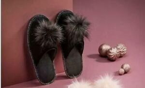 AVON Black Velour Pom Pom Slippers Medium UK Size 5-6 New Gift