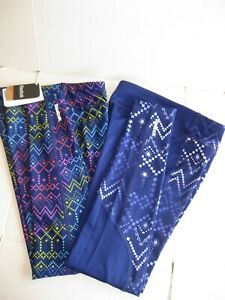 NWT Reebok Sport Printed Tight Leggings Girl's Pants Blue / Purple / Multicolor