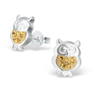 Childrens Kids Girls 925 Sterling Silver Owl Ear Stud with Crystal-Gift Box