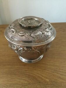 ANTIQUE SOLID SILVER COVERED SUGAR BOWL IN THE RECCO MANOR LONDON 1742