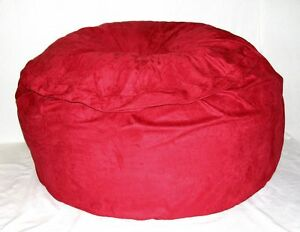 """6"""" Round Microfiber Foam Crazy Sac Beanbag Chair in Red Made To Order"""
