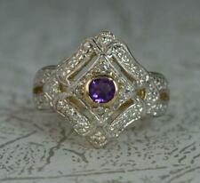 Art Deco Design Amethyst & Diamond 9ct Gold Cluster Ring f0569