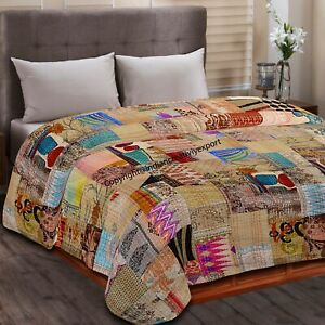 Indian Handmade Bedspread Kantha Silk Patchwork Quilt Coverlet Sofa Couch Throw