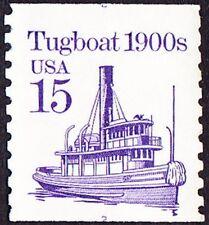 US - 1988 - 15 Cents Violet 1900's Tugboat Coil # 2260 Plate # 2 w/ Split Number