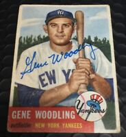 SIGNED 1953 TOPPS BASEBALL #264 GENE WOODLING. GOOD CONDITION! Bonus Gift.
