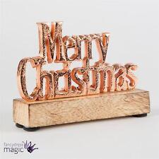 SASS BELLE BOIS manguier Copper Tone Joyeux Noël Debout SIGNE Cadeau Décoration