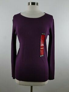 NEW Kirkland Womens Viscose Blend LS Scoop Neck Solid Plum Purple Sweater Medium