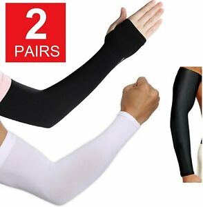 OpetHome Arm Sleeves Unisex UV Sun Protection Warmer or Cooler Ice Silk Breathable to Outdoor Activities Hands Arm Sleeve Glove 1 Pair Black01