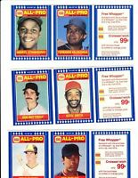 1987 Burger King 11 Uncut Panels - Clemens, Valenzuela, Henderson, Ozzie Smith