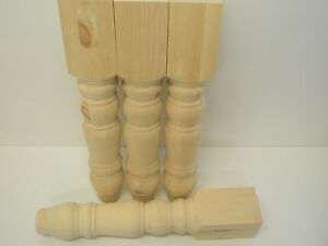 "Set of 4 Solid Pine Farmhouse 5"" Table Legs, WT070"