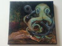 Original Painting 🐙 Octopus Ship Anchor ⚓ Urchin fantasy realism oil fine Art