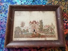 Antique Embroidery Man Walking Into Castle w/ Grounds in Antique Frame