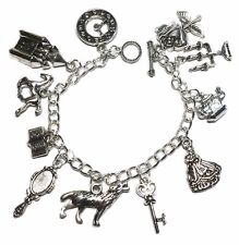 Beauty & The Beast Themed Silvertone Charm Bracelet w/ Toggle Clasp