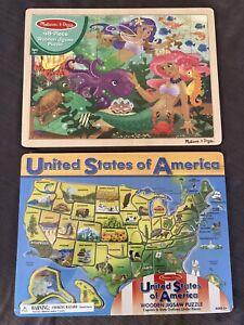 NEW Lot of 2 Melissa & Doug Wooden Jigsaw Puzzles (48 pcs) United States Map