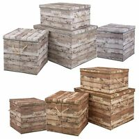 Wood Design Storage Box Rope Handles Lidded Collapsible Non Woven Organiser Toys