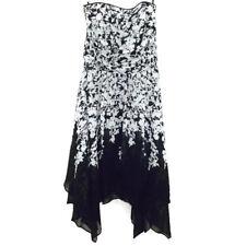 White House Black Market Womens Dress Size 6 Strapless Asymmetrical Hem Floral