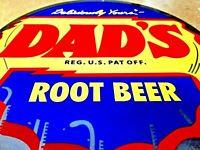 """VINTAGE DADS ROOT BEER BOTTLE CAP METAL SIGN 12"""" SODA POP ADVERTISING DISPLAY"""