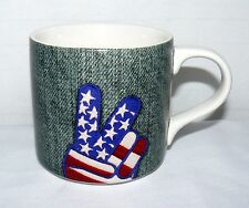 2009 12 OZ PEACE SIGN DENIM PATCH COFFEE MUG
