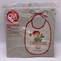 """Vintage Columbia Minerva Christmas Bib Cross Stitch Kit #6878 8""""x10"""" 1983 New"""