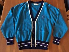 PRINGLE of SCOTLAND SPORTS Mens Teal Blue Wool Long Sleeve Letterman Cardigan S