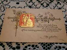 Vintage Art Deco Era Christmas Greeting Card Merry 1930 Signed Pochoir Couple