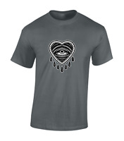 CRYING HEART MENS T SHIRT COOL RETRO TATTOO CLASSIC VINTAGE FASHION TOP NEW