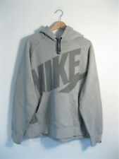 NIKE | Men's Grey AW77 Fleece BIG LOGO Pullover Hoodie Hooded Sweatshirt | XL