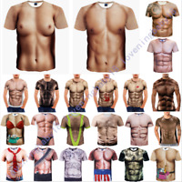 New Fashion Cool Women Men Funny Muscle Print 3D T-Shirt Casual Short Sleeve Tee