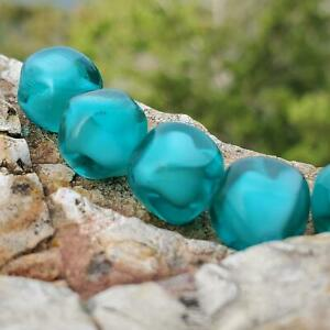 Beautiful True Vintage Baroque Teal Green Givre Glass Beads DIY Jewelry Making