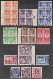 Burma 1945 KGVI Military Administration Overprint Part Set to 5r inc Blocks Mint