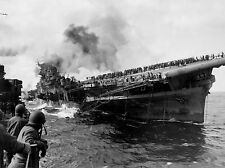 USS FRANKLIN ON FIRE LISTING AFTER JAPANESE ATTACK 3/19/45 - 8X10 PHOTO (EP-531)